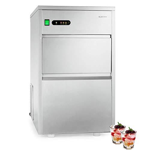 Klarstein Powericer XXL - Profi Eiswürfelmaschine, Eiswürfelbereiter, Ice Maker, 25 kg / 24 h,160 W, 6 kg Lagerfach, LED, geschmacksneutrale Auskleidung, sehr leise, Edelstahl, silber