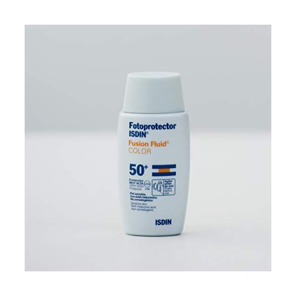 Fotoprotector ISDIN Fusion Fluid Color SPF 50+   Protector solar facial con color   Apto para todo tipo de pieles   50ml