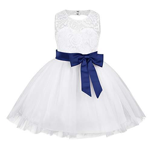 Agoky Baby Festliche Kleidung zur Taufe Hochzeit Blumenmädchen Kleider Party Prinzessin Brautjungfer Festzug Tutu Tüll-Kleid Navy Blau 74-80/9-12 Monate