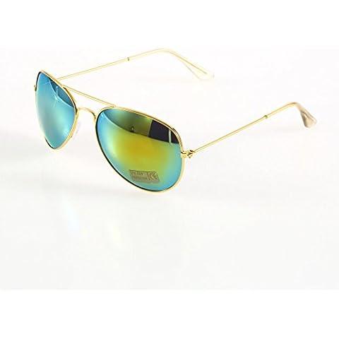 Oro cornice + Oro Quicksilver Lens Unisex New Classic argento lenti a specchio marrone oro nero occhiali da sole F5mondo Eye Wear - Kit Fit Specchio