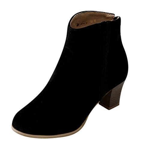 ODRD- Schuhe Damen Ankle Boots Slip On Ausgeschnitten Stacked Block Heel Freizeitschuh Casual Booties Women Schuhe Sneaker Stiefel Stiefeletten Hallenschuhe Boots Laufschuhe Sports -
