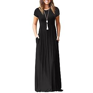 shermie Women s Casual Long Short Sleeve Plain Long Dresses Crew Neck Ladies  Maxi Dress with Pockets 1a4432955