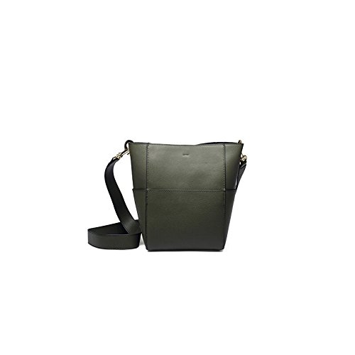 Mefly All-Match Leder Bucket Bag. Khaki trumpet