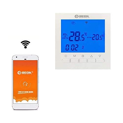 Beok BOT-313 WiFi-Thermostat Für Gaskessel, Programmierbar, LCD-Raumthermostat, Stromversorgung, Online-Steuerung über Smartphone, AC220V 3A, Blau,Packung mit 1