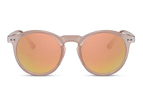 Cheapass Sonnenbrille Rund-e Creme Pink Orange High-Fashion UV-400 Festival-Accessoire Plastik Damen Frauen
