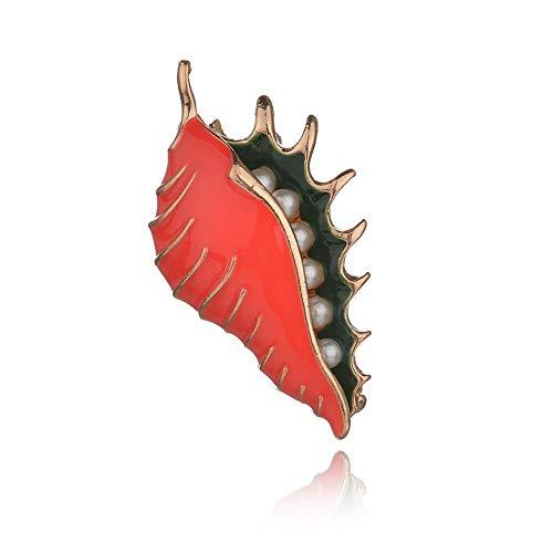 Olydmsky Broches para Ropa Mujer Gota de Perla de la Marca de Moda Esmalte Concha Broche Ramillete Capa Bufanda Hebilla