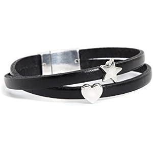 Armband Schwarz aus Leder mit Herz & Stern Silber