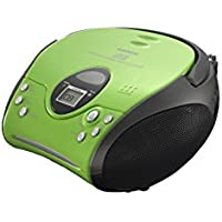 Lenco SCD-24 Green & Black | Portable Stereo FM Radio with Top Loading CD Player with AC/DC Operation, 3.5mm Headphone Jack, Telescopic Antenna and Integrated Ergonomical Handle - Green & Black CD Player