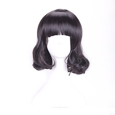 HJL-30 Cm Harajuku Cosplay jung kurz lockig welliges Damen Sexy schwarze Perücken Halloween-Kostüm , black