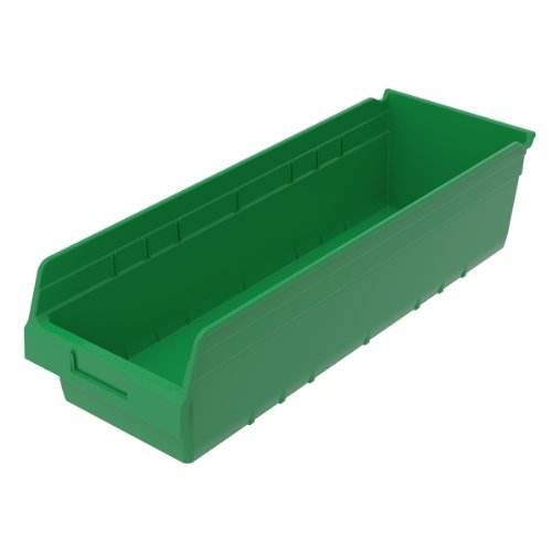 Akro-Mils 30084GREEN ShelfMax Kunststoff-Aufbewahrungsbox, stapelbar, 23-5/8 cm, L/8-3/8 cm W x 15 cm, H, grün, 6 Stück -