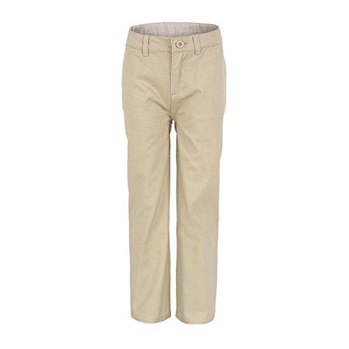 Bienzoe Jungen Schuluniformen Flache Vorderseite Baumwolle Köper Einstellbare Taille Hose khaki Größe 10