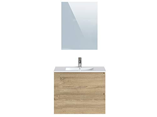 Marchio Amazon -Movian Dive - Mobile bagno con specchio e lavandino, 81 x 46,5 x 68 cm, colore marrone