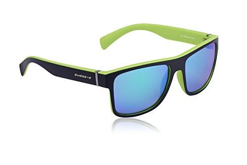 Avenue- sportlich verspiegelte Brille im Wayfarer Look Antifog/Antiscratch-Beschichtung (grün/schwarz)