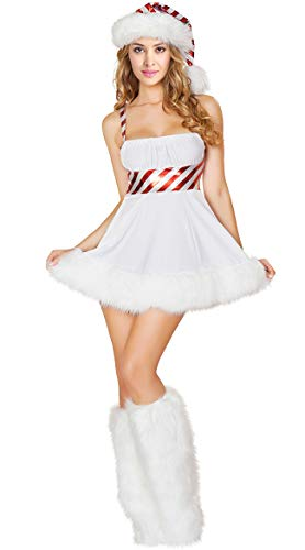 Kimring Women's 3pcs Christmas Miss Candy Cane Cosplay Costume Mini Dress with Santa Hat White X-Large