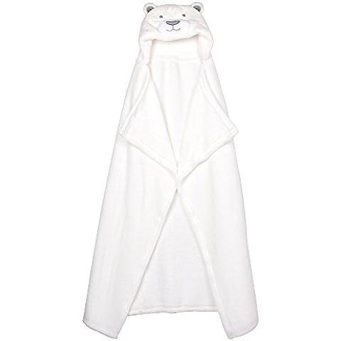 QUMAO - (76x92cm) Asciugamano da Bagno con Cappuccio per Neonato, Ultra-Morbida Assorbente Rettangolare, Coperta in Flanella, Cape Blanket (Orso Bianco) - Flanella Bambino Coperte