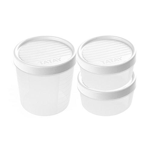 Tatay 1169401 Set di 3 scatole di immagazzinaggio di chiusura a vite in plastica bianco 24,5 x 12 x 13 cm
