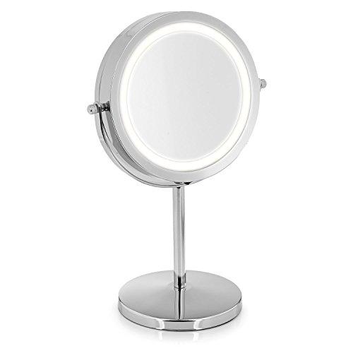 TROP Kosmetik-Spiegel mit LED Beleuchtung und 5-fach Vergrößerung, Schminkspiegel mit Blendfreier Beleuchtung, Standspiegel fürs Badezimmer und unterwegs, batteriebetrieben  -