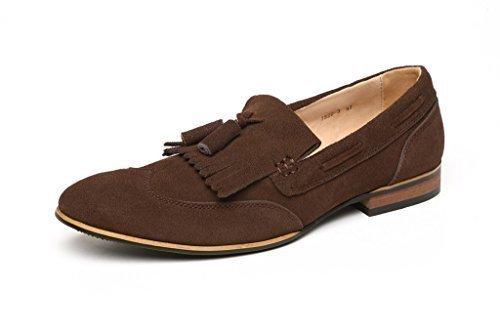 Cuir Pour Hommes cuir suédé Chaussures Créateur DécontractéÀ Enfiler Mocassins À Glands Embout taille Café