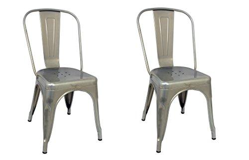 La Silla Española - Pack 2 Sillas estilo Tolix con respaldo. Color Gris Industrial. Medidas 85x54x45,5