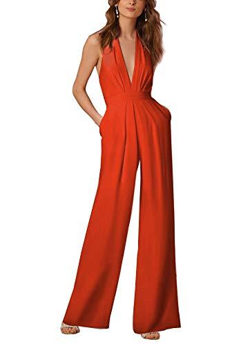 5a88172f1590 Lylafairy Elegante Tutina Jumpsuit Tuta con Pantaloni Lungo Vestito Abito  Cerimonia da Donna Casual (L