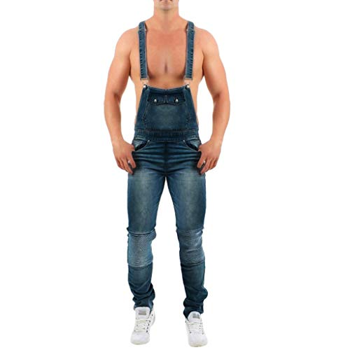 UFACE Latzhose Skinny Fit Denim Bib Overalls Slim Leg Jeans Latz Lange Hose Herren Jumpsuit