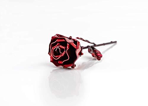 Rosa de hierro forjado, forjada a mano, no encontrarás dos rosas iguales.♥ Haz un regalo original a la persona querida ♥Regalo ideal para regalo del Día de la Madre, San Valentín, Novia, Pareja, Cumpleaños, Navidad, Decoración, BodaMotivo Floral en f...