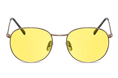 Cheapass Rund-e Sonnenbrille Gold Hipster Gelb-e Linsen UV-400 Lichtschutz Metall-Rahmen Unisex