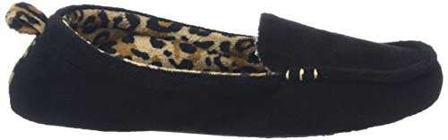 Dearfoams Microfiber Terry Moccasin With Memory Foam, Chaussons femme Black (Black 00001)