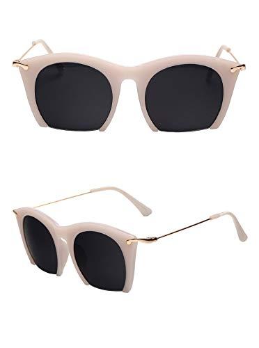 Sonnenbrille,Klassisches Design Für Frauen Die Hälfte Frame Cat Eye Sonnenbrillen Sonnenbrillen Männer Fahren Vintage Mode Sonnenbrille Uv400 Cremeweiß