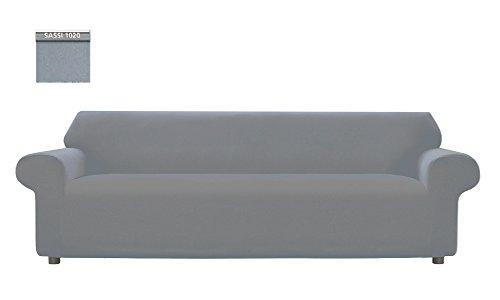Copridivano genius tinta unita, per divano xl 4 posti, colore grigio sassi 1020
