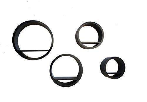 Mobili rebecca set 4 mensole scaffali pensili cerchio ripiano legno nero design 3d camera salotto (cod. re4050)