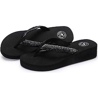 LvYuan Femme Sandales Confort Semelles Légères Tissu Eté Décontracté Confort Semelles Légères Talon Compensé Noir 2,5 à 4,5 cm Black