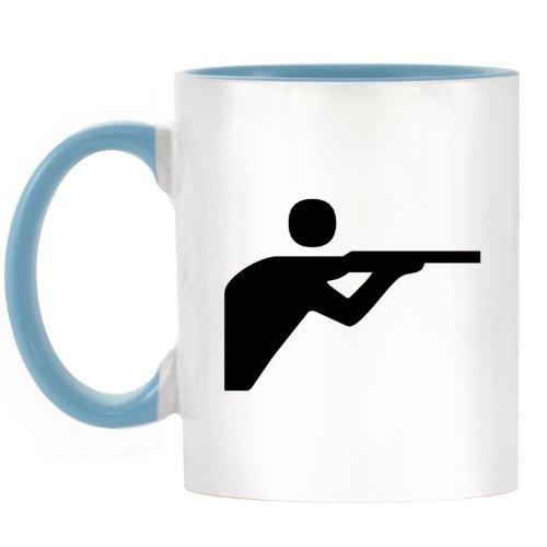 Shooting Leichtathletik Symbol Design bicolor Becher mit Henkel Hellblau & Innen (Innen Sniper)