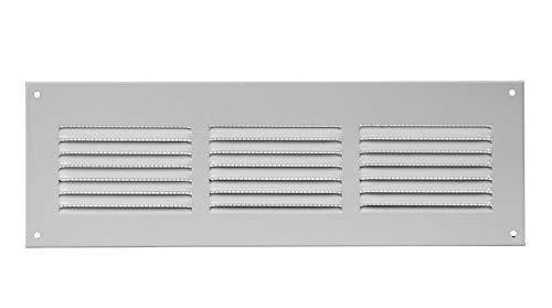 300x100mm Griglia areazione in metallo, bianca, rettangolare, aerazione con protezione antinsetti in rete