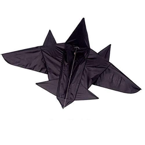 AYLS Drachen, einfarbig Breite Anfängerbrise Leicht zu Fliegende Drachen mit tragbaren Rollen-Drachen, 200 * 140 cm,Black