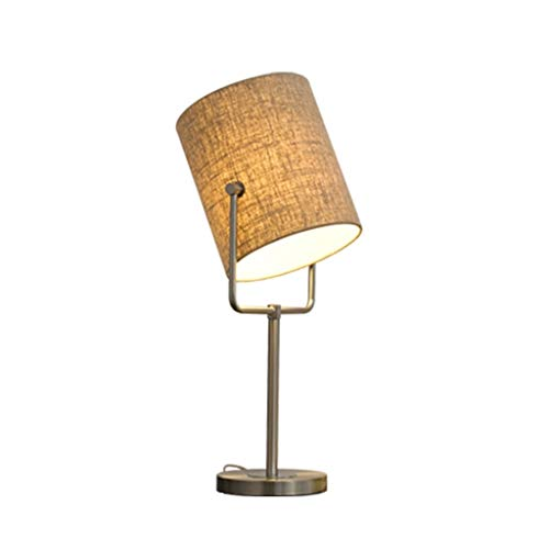 WJMLS Moderne Tischlampe Bronze Metall Basis Weiche Tan Leinen Doppel Trommel Schatten for Wohnzimmer Familie Schlafzimmer (Color : S) -