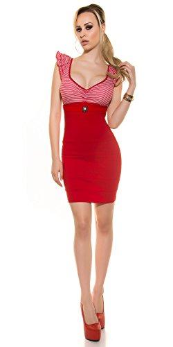 Minikleid, gestreift mit Rüschen und Gürtel Rot