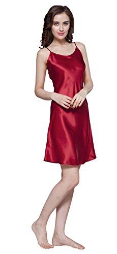 LILYSILK Chemise de Nuit en Soie Femme à Bretelle Mi-cuisse 22 Momme Rouge Vineux