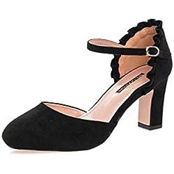 Klassische Trendige Damen Mary Jane Riemchen Pumps Stilettos Party High Heels Plateau Schuhe
