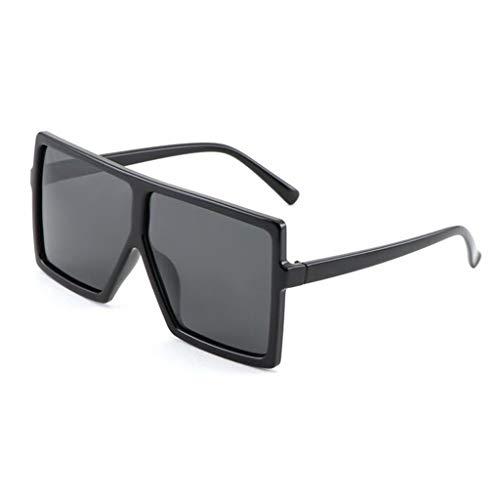 YIWU Brillen 2019 Neue Sonnenbrille weibliche persönlichkeit Sonnenbrille männer und Frauen großen Rahmen Platz polarisator schwarz superbrille Brillen & Zubehör (Color : Black)