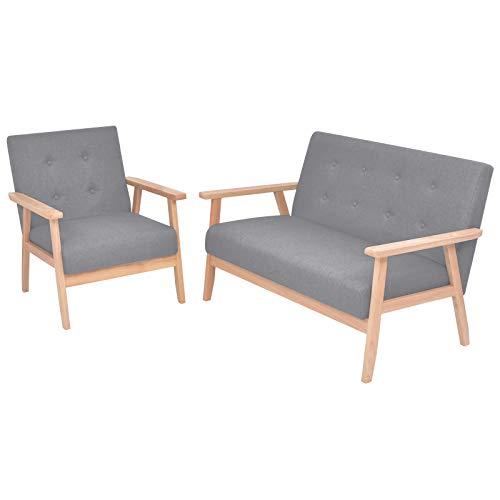 vidaXL Sofa Set 2-tlg. Stoff Hellgrau Couch Sofagarnitur Sessel Polstersofa