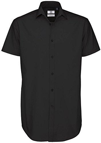 B & C Collection Erwachsene Short Sleeve Schwarz Tie Business Top Erwachsene Formale T-Shirt Schwarz - Schwarz