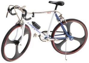 ELECTROPRIME 1/10 Metal Blue White Racing Bicycle Model Artwork Creative Desktop Decor