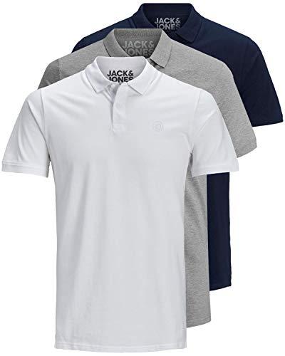 JACK & JONES 3er Pack Herren Poloshirt Slim Fit Kurzarm schwarz weiß blau grau XS S M L XL XXL Einfarbig Gratis Wäschenetz von B46 (3er Pack Mix5, S) -
