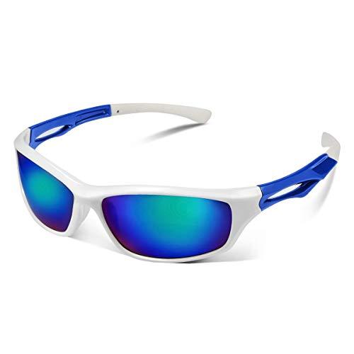 CHEREEKI Sport Sonnenbrille, Ultralight Polarisierte Sportbrille mit UV400 & TR90 Anti-Reflective für Draußen (Weiß)