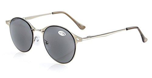 Eyekepper Sonne Leser Qualitaet Feder-Scharnier Kleine Ovale runde Lesung Sonnenbrille grau Linsen +1.5