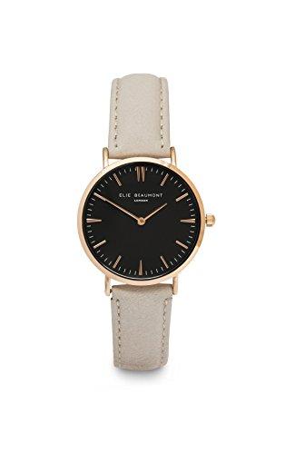 Elie Beaumont Petite montre à quartz pour femme avec cadran noir Affichage analogique–Oxford Petite–Pierre Cuir nappa Eb805lstoneblack