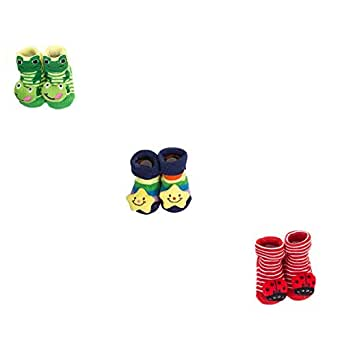 Clastik Cartoon Face Socks for Baby Girl and Boy (0-9 Months,Multicolor) Pack of 3 Pairs