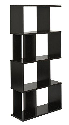 ts-ideen Design Regal Hochregal Standregal Bücherregal CD-Regal Aufbewahrung Holz Walnuss 128,5 x...