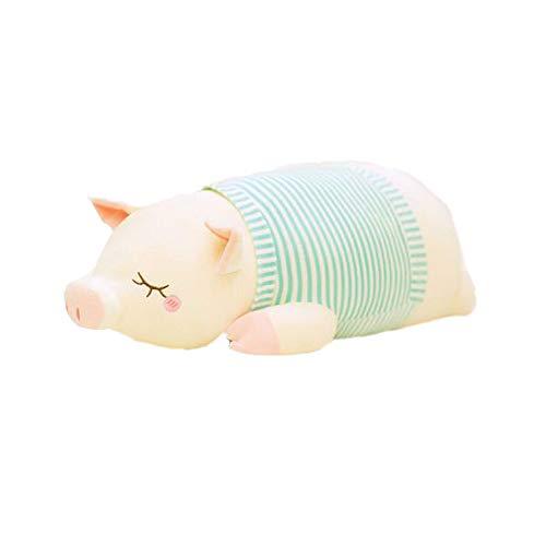 HLKYB Kuscheltierpuppe, gefülltes gestreiftes Ferkel superweiches Kissen Spielzeug Schwein Puppe Kissen Bett Puppe Kinder Geburtstagsgeschenk Erwachsenenkissen,Blue,95cm (Gefüllte Schwein Spielzeug)